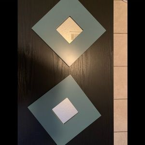 Set of 2 IKEA wall mirrors - blue square shape.